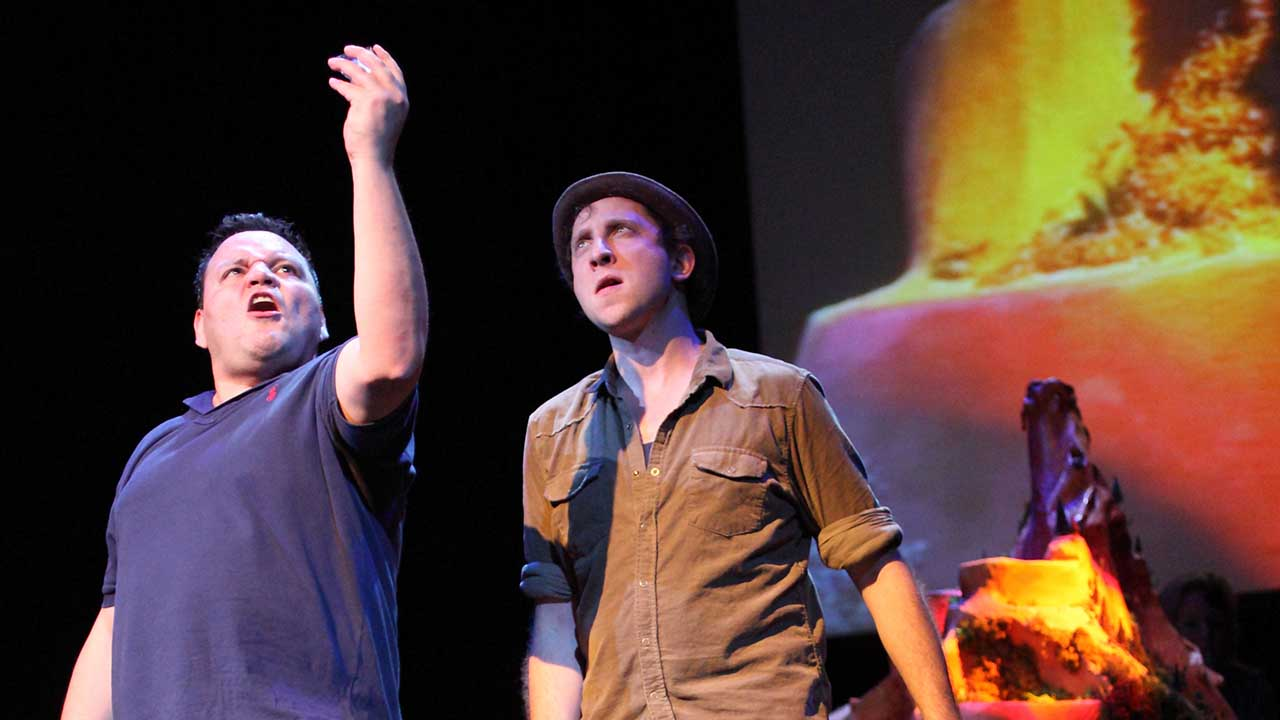 1. Escape from Peligro Island. Windmill Theatre. L-R Alirio Zavarce, Dave Heinrich. Photo Tony Lewis