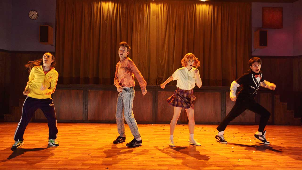 12. Windmill Theatre's School Dance, L-R Luke Smiles, Jonathon Oxlade, Amber McMahon & Matthew Whittet. Photo Tony Lewis