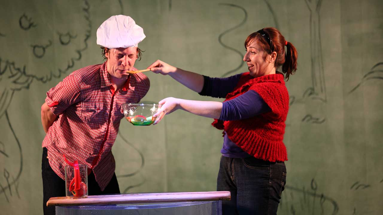 4. L-R Nathan O'Keefe and Nadia Rossi in Windmill Theatre's Plop! Photo by Tony Lewis