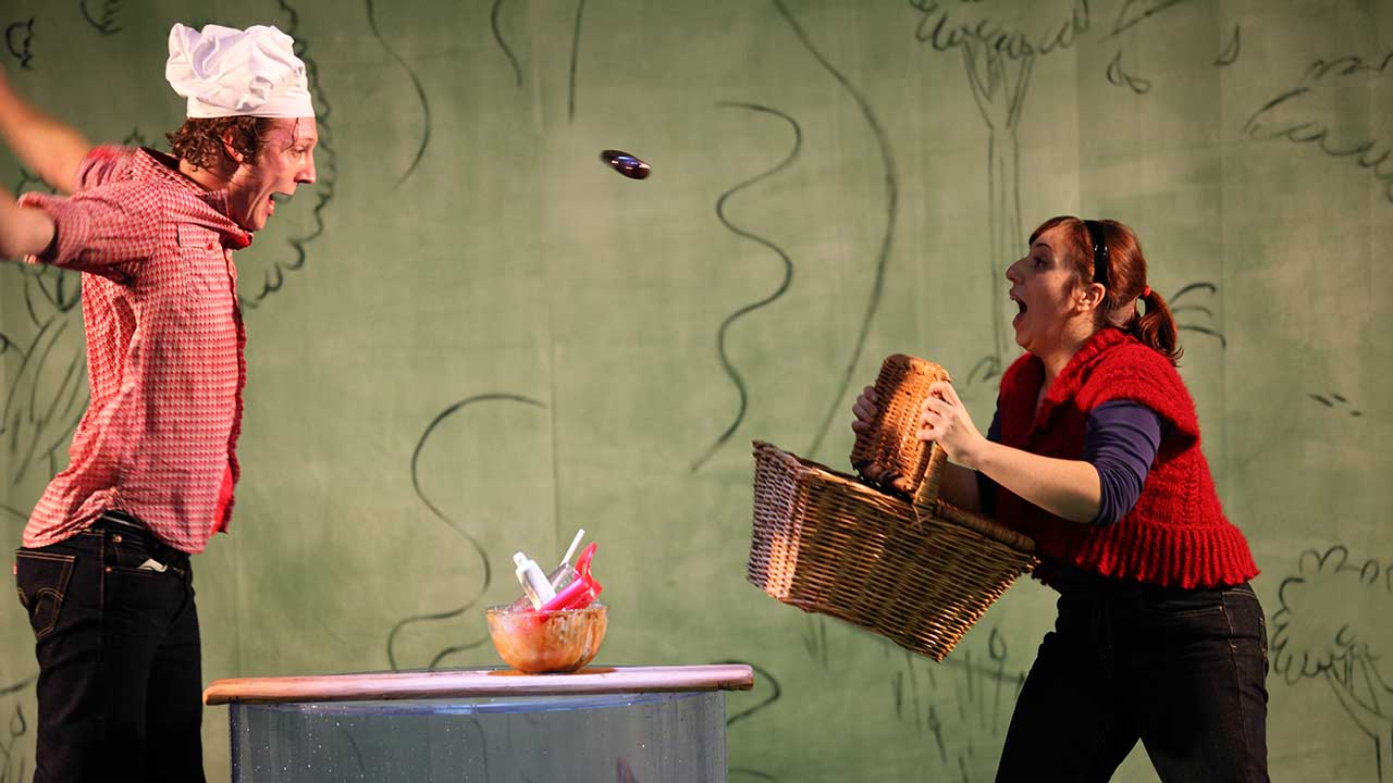 7. L-R Nathan O'Keefe and Nadia Rossi Windmill Theatre's Plop! Photo by Tony Lewis