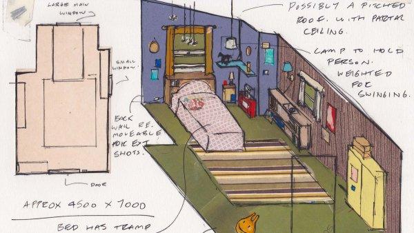 Sketch of Greta's bedroom.