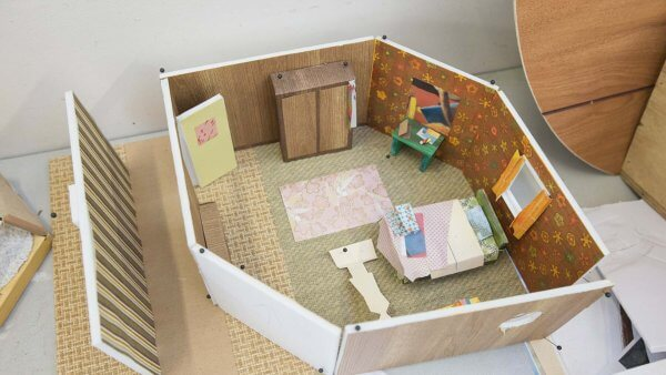 A model of Greta's bedroom explores colour palette as well as each item in relation and proportion to each other.
